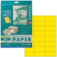 Lomond A4 самоклеящая бумага 24 деления (70*37мм) 50л. желтая